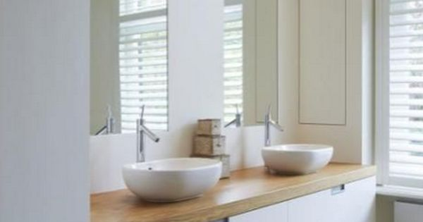 Rosa Beltran Design Organic Modern Bathroom Design Thick Wood Counter With White Floating