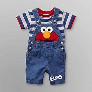 Sesame Street Baby Boys Elmo Denim Overalls Set