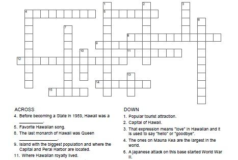 Hawaii Crossword Puzzle All Free