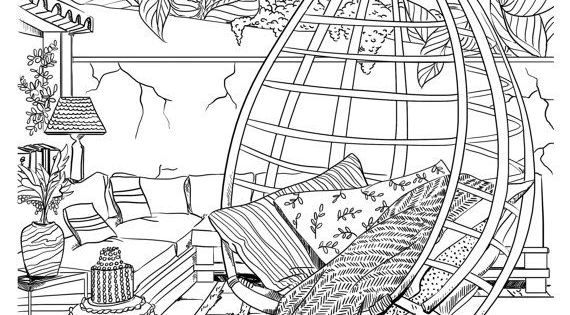 Bohemian Patio Design Adult Coloring Page Interior