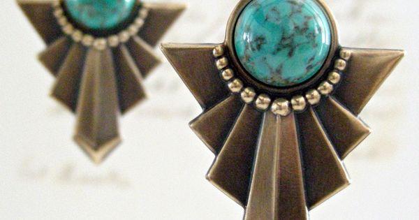 Earrings Art Deco Tribal Turquoise Matrix Vintage