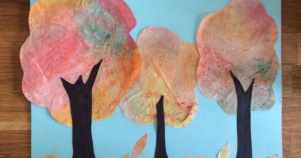 Les arbres d 39 automne peinture l 39 eau sur filtre caf texture avec pastel gras d coupage for Peinture pastel gras