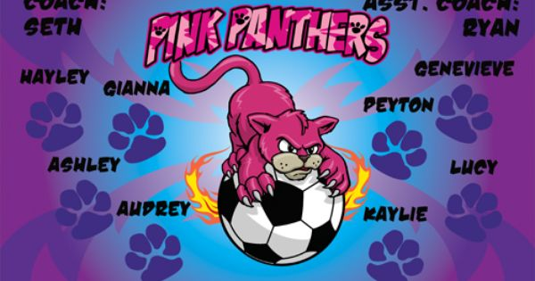 Pink Panthers Digitally Printed Vinyl Soccer Sports Team Banner Made In The Usa And Shipped Fast By Banners Sports Team Banners Soccer Banner Digital Banners