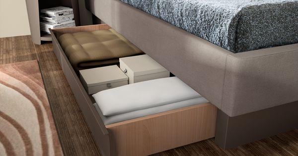 Cadre de lit en imitation cuir sur socle tiroirs en m tal meubles ran - Cadre de lit en metal ...