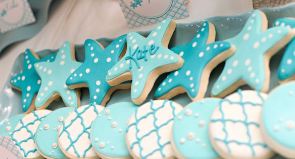 mermaid starfish cookies for under the sea or mermaid party ideas