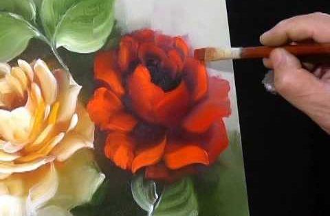 Uma aula completa de como pintar rosas em leo sobre tela sem cortes a - Como pintar sobre tela ...