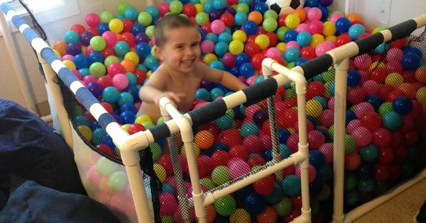 DIY Homemade ball pit made with PVC pipes! Great idea for a
