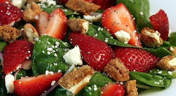 Spinach Strawberry Salad with Candied Pecans, Feta, & Raspberry Poppyseed Dressing. recipe