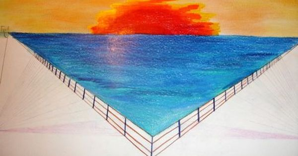 Waldorf 7th Grade Perspective Drawing Sunset Fence