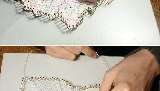 String Art Home-States--such a cute idea! I'd love to make one of our home states and then maybe some for mom and dad as well