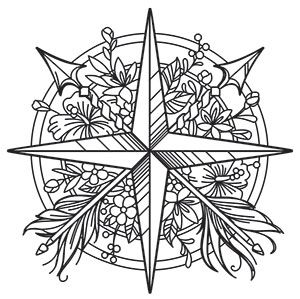Bohemian Summer Compass Rose Urban Threads Unique And Awesome Embroidery Designs Pattern Coloring Pages Compass Embroidery Coloring Pages