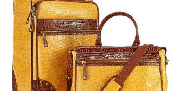 "Samantha Brown Luggage Qvc: Samantha Brown 21"" Croco Upright Yellow TOTE Luggage"