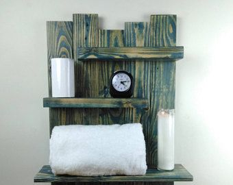 Distressed Wood Blue Bathroom Wall Shelf Coastal Decor Reclaimed