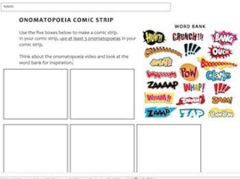 Onomatopoeia Comic Strip Worksheet Teaching Creative Writing