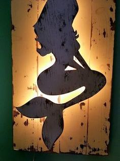 Backlit Wood Mermaid Wall Art By Thesaltysweetmermaid On Etsy Mermaid Wall Art Pallet Wall Art Diy Wall Art