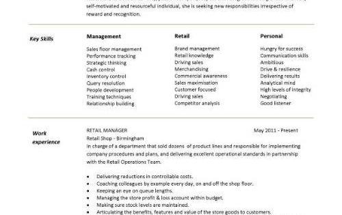Retail CV Template, Sales Environment, Sales Assistant CV