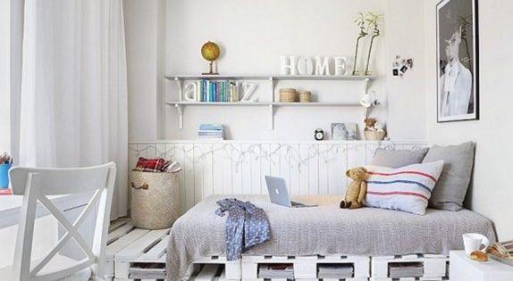 schlafzimmer inspiration mit bett aus europaletten wei