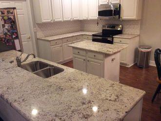 White Orion Granite Countertops Installation Kitchen Countertops Countertops Granite Countertops