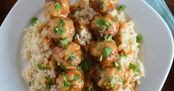 Asian Meatball Satay with Peanut Sriracha Sauce   Recipe   Asian ...