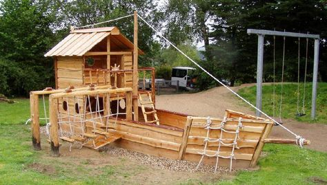Grosses Piratenschiff Tansania 9m Langer Spieltraum Fur Kinder Yard Remodel Backyard Playground Humble House