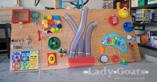 DIY Sensory board with how-to's and links to products.