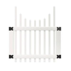 Veranda 3 1 2 Ft W X 4 Ft H White Vinyl Chatham Scalloped Top Spaced Picket Fence Gate 181983 Picket Fence Gate White Vinyl Fence White Vinyl