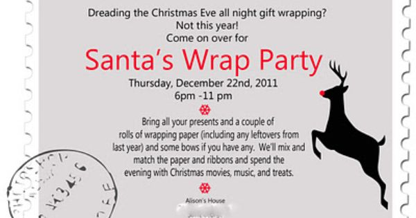 Christmas Wrapping Party Google Search Party Invite Template Birthday Party Invitation Wording Wrapping Party