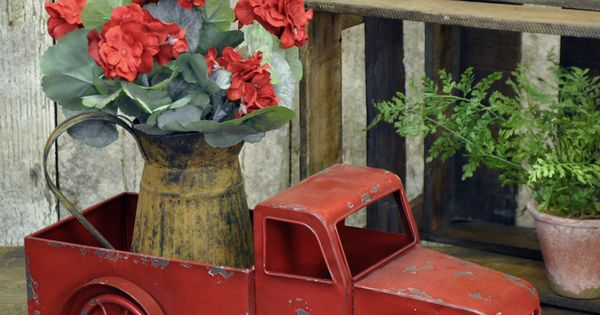 Red Truck   Porch, Living rooms and Planters