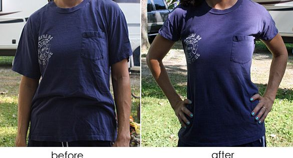 large tshirt to fitted tshirt tutorial