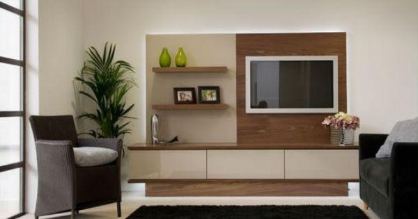 Modern Bespoke TV Furniture Arrangement In Walnut And High Gloss Glass Livi