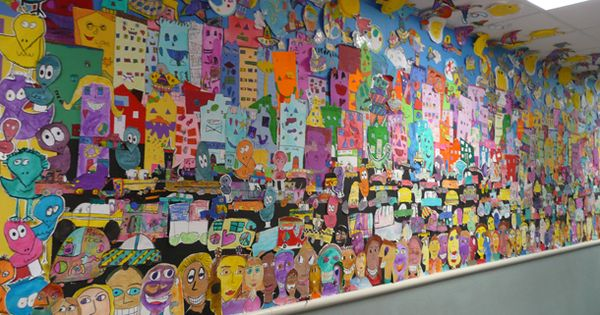 Mural in the style of james rizzi james rizzi for Ecole d art mural