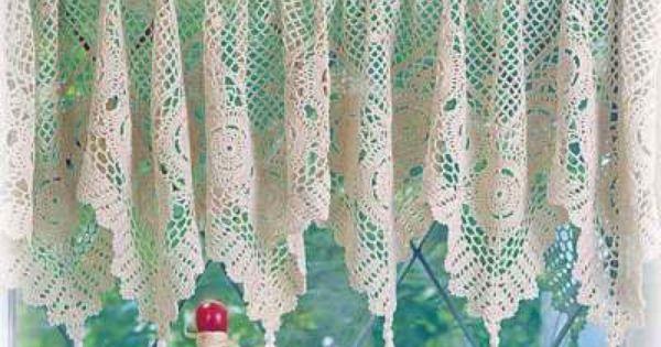 Dutch crochet curtains filet valance vintage | Filet crochet ...