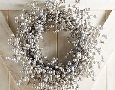 21 Glittered Silver Berry Wreath Christmas Wreaths Silver Christmas Decorations White Christmas Decor