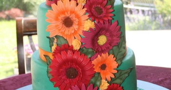 Beautiful Gerber Daisy Wedding Cake. ok this has to be my most