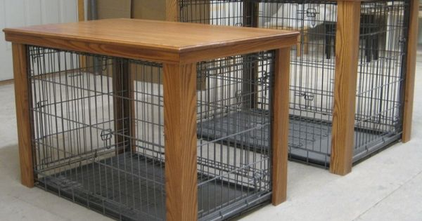 Wooden table dog crate cover creative crafty for Creative crates