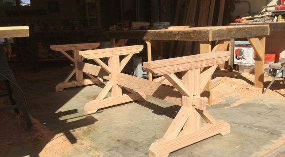 Make Your Own Farmhouse Style Triple Trestle Table Base