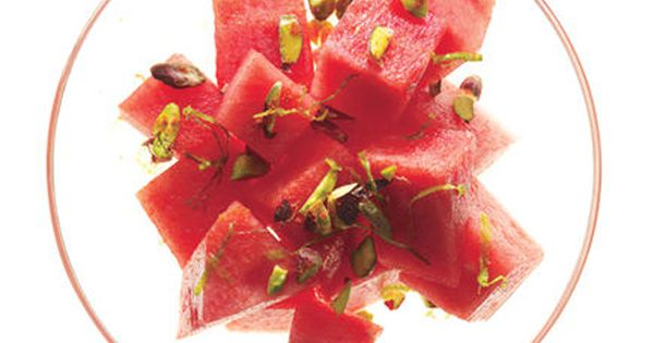 Spicy Watermelon and Pistachios Toss 2 cups cut-up watermelon with 1 tablespoon