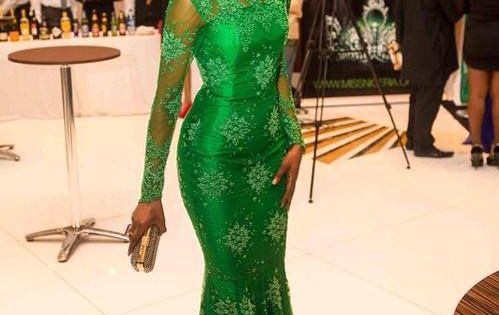 Green satin long sleeve dress with French lace overlay! I love this