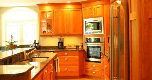 Cherry Wood Cabinet Kitchen Stainless Steel Appliances