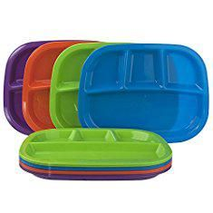 Melamine Divided Plates Set Of 12 4 Compartment Divided Dinner Tray In 4 Assorted Colors Melamine Divided Compartment Plate Divided Plates Dinner Tray