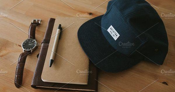 Basic Necessities, notebook, pen, watch and cap