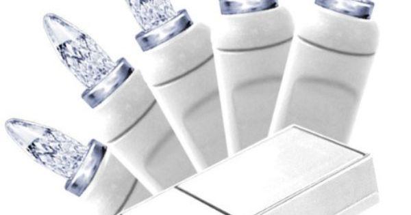Pure White - Battery Operated - 20 LED Bulbs - Short M5 Shape - Length 12 ft. - Bulb Spacing 4 ...