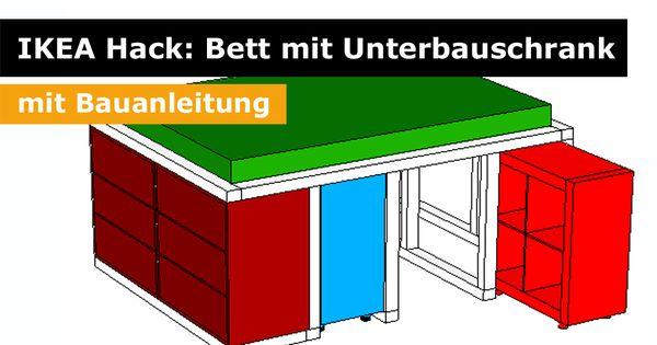 ikea hack aus dem kallax regal und der malm kommode wird ein bett mit unterbauschrank kallax. Black Bedroom Furniture Sets. Home Design Ideas