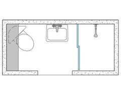 3x8 Bathroom Layout With Corner Toilet For Added Leg Room Towel Dry Rack Could Go Inside Door On Lef Bathroom Layout Corner Toilet Small Bathroom Design Plans