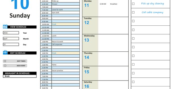 Daily Work Schedule Template Daily Planner Template Schedule