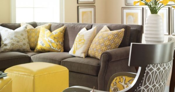 Gray Couch Yellow Pillows Grey And Yellow Living Room Yellow Living Room Living Room Grey