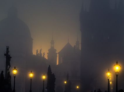 Streetlights, Charles Bridge in Prague