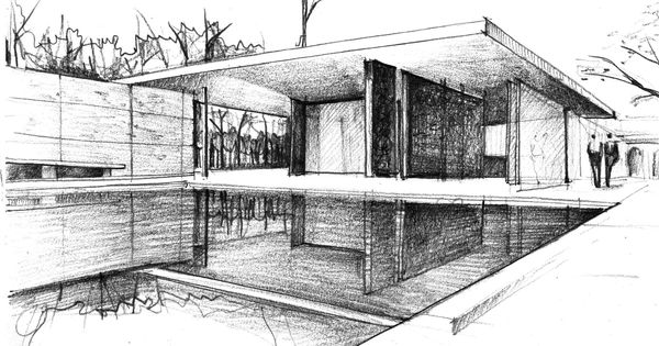 mies van der rohe architecture sketches   google search