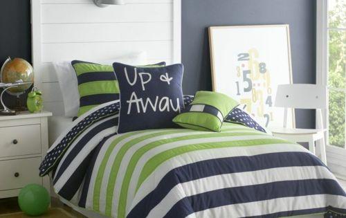 farbgestaltung f rs jugendzimmer 100 deko und einrichtungsideen bettdecke streifen jungen. Black Bedroom Furniture Sets. Home Design Ideas