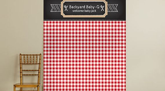 Personalized Photo Backdrop Bbq Red Black Checkered